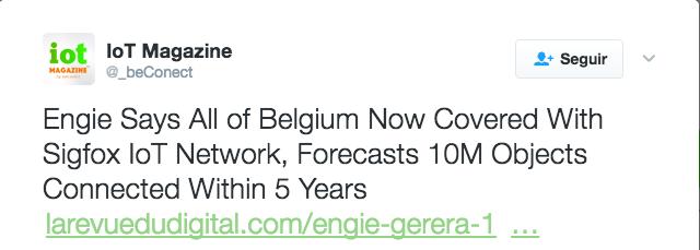 ENGIE gestionará 10 millones de objetos conectados en Bélgica a través de la red @SIGFOX